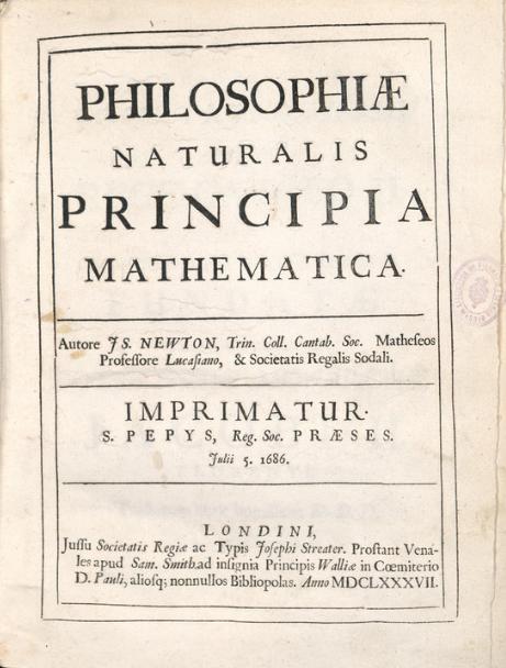 Prmeira edição do _Philosophiae Naturalis Principia Mathematica_, de 1686